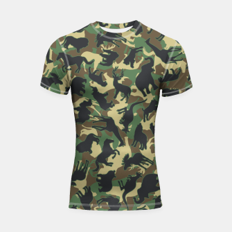 Thumbnail image of Animals Wild Animal Camo Forest Woodland Camouflage Pattern Shortsleeve rashguard, Live Heroes