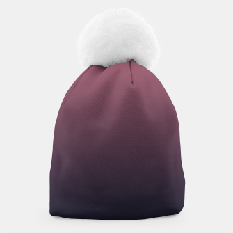 Miniatur Dark purple black navy duotone gradient ombre stylish color pure soft marsala monochrome Beanie, Live Heroes