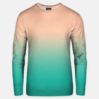 Miniatur Pastel blush coral bottle green duotone gradient ombre summer stylish color pure soft light monochrome Unisex sweater, Live Heroes