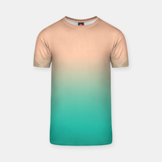 Miniaturka Pastel blush coral bottle green duotone gradient ombre summer stylish color pure soft light monochrome T-shirt, Live Heroes