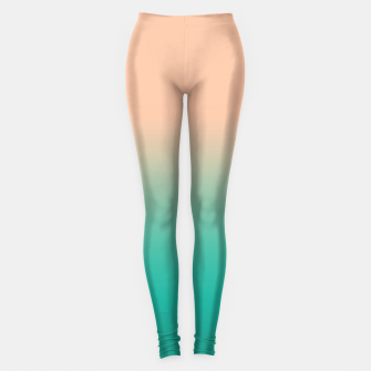 Pastel blush coral bottle green duotone gradient ombre summer stylish color pure soft light monochrome Leggings Bild der Miniatur