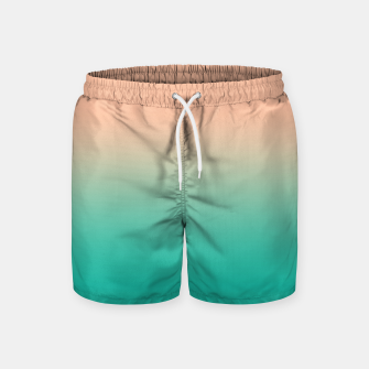 Miniatur Pastel blush coral bottle green duotone gradient ombre summer stylish color pure soft light monochrome Swim Shorts, Live Heroes