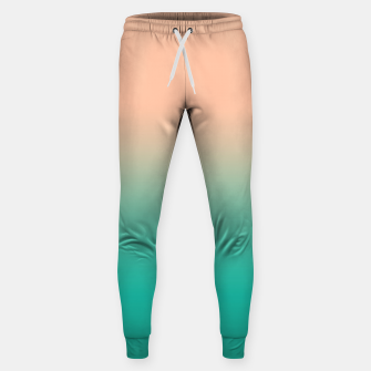 Miniatur Pastel blush coral bottle green duotone gradient ombre summer stylish color pure soft light monochrome Sweatpants, Live Heroes