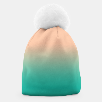 Miniatur Pastel blush coral bottle green duotone gradient ombre summer stylish color pure soft light monochrome Beanie, Live Heroes