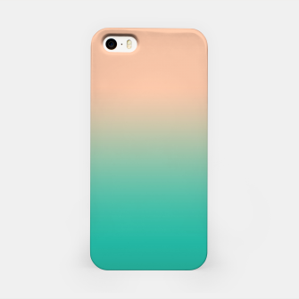 Pastel blush coral bottle green duotone gradient ombre summer stylish color pure soft light monochrome iPhone Case Bild der Miniatur