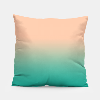 Miniatur Pastel blush coral bottle green duotone gradient ombre summer stylish color pure soft light monochrome Pillow, Live Heroes