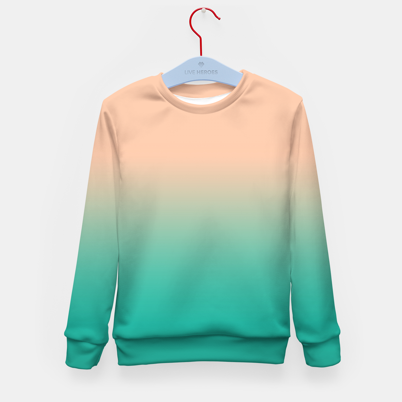 Foto Pastel blush coral bottle green duotone gradient ombre summer stylish color pure soft light monochrome Kid's sweater - Live Heroes