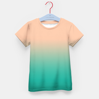 Miniatur Pastel blush coral bottle green duotone gradient ombre summer stylish color pure soft light monochrome Kid's t-shirt, Live Heroes