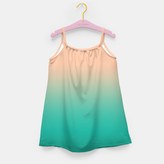 Miniatur Pastel blush coral bottle green duotone gradient ombre summer stylish color pure soft light monochrome Girl's dress, Live Heroes