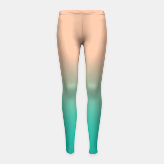 Pastel blush coral bottle green duotone gradient ombre summer stylish color pure soft light monochrome Girl's leggings thumbnail image