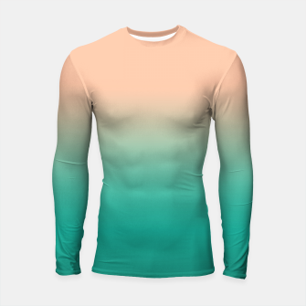 Pastel blush coral bottle green duotone gradient ombre summer stylish color pure soft light monochrome Longsleeve rashguard  Bild der Miniatur