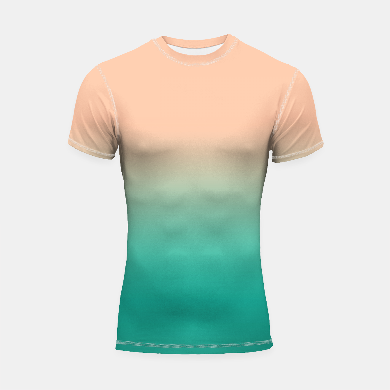 Foto Pastel blush coral bottle green duotone gradient ombre summer stylish color pure soft light monochrome Shortsleeve rashguard - Live Heroes