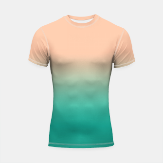 Imagen en miniatura de Pastel blush coral bottle green duotone gradient ombre summer stylish color pure soft light monochrome Shortsleeve rashguard, Live Heroes