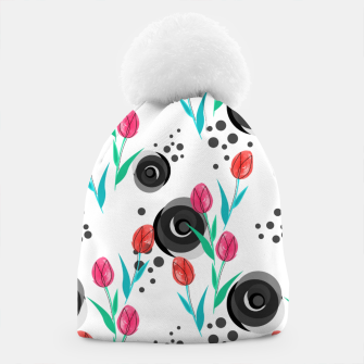 Thumbnail image of Abstract floral pattern tulips. cartoon floral spring summer light pattern cute Beanie, Live Heroes