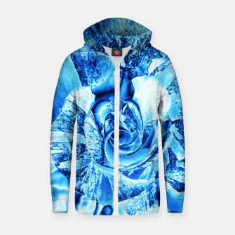 Thumbnail image of Blue Frozen Ice Rose Zip up hoodie, Live Heroes