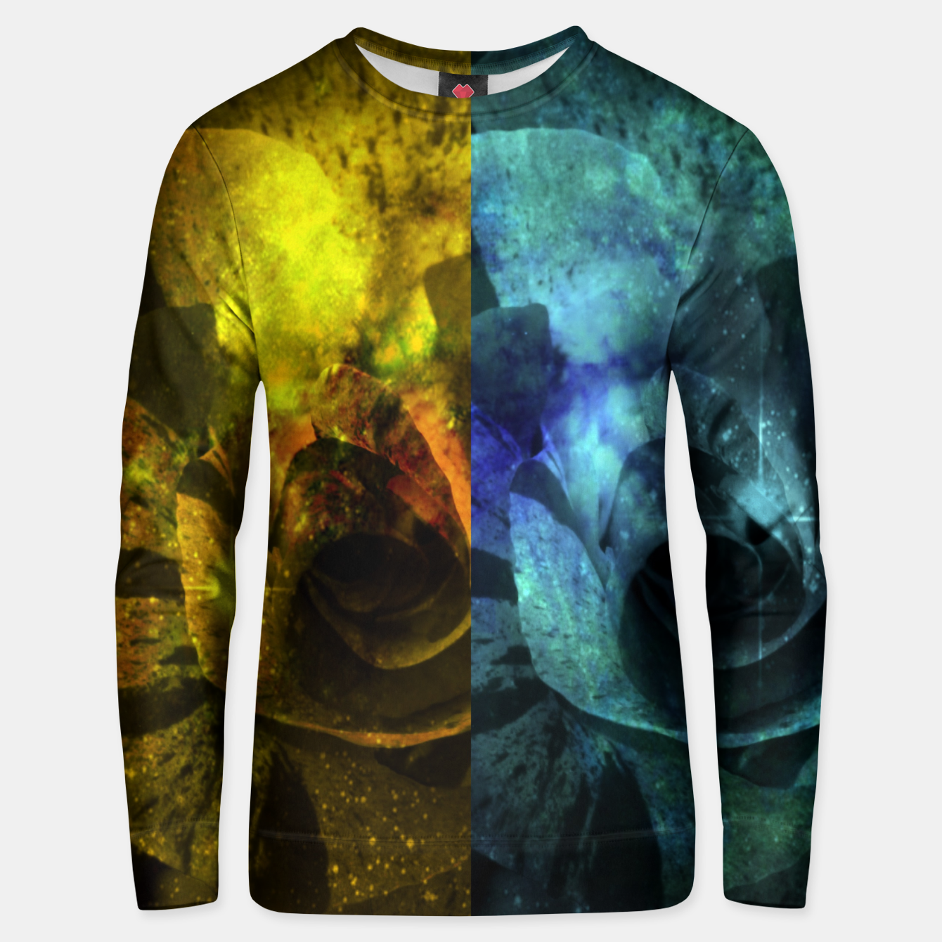 Image of Deux Roses - Yellow and Blue Sparkling Rose Unisex sweater - Live Heroes