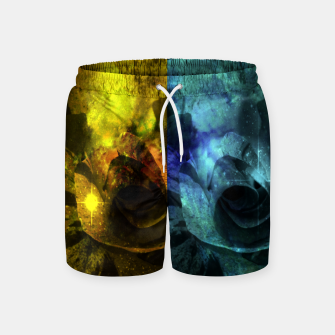 Miniatur Deux Roses - Yellow and Blue Sparkling Rose Swim Shorts, Live Heroes