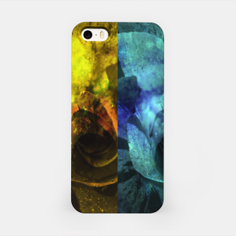 Miniatur Deux Roses - Yellow and Blue Sparkling Rose iPhone Case, Live Heroes