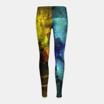 Miniatur Deux Roses - Yellow and Blue Sparkling Rose Girl's leggings, Live Heroes
