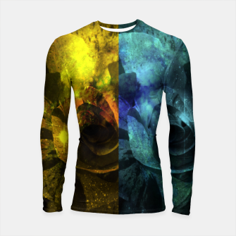 Thumbnail image of Deux Roses - Yellow and Blue Sparkling Rose Longsleeve rashguard , Live Heroes