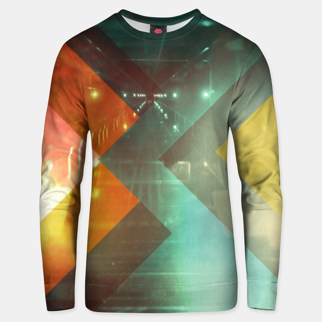 Image of 70s Orange Abstract Techno Triangles Unisex sweater - Live Heroes