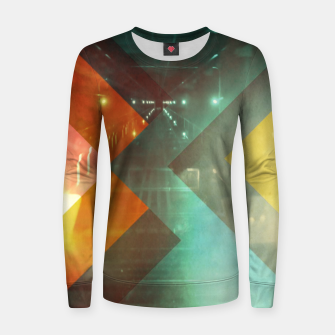 Thumbnail image of 70s Orange Abstract Techno Triangles Women sweater, Live Heroes