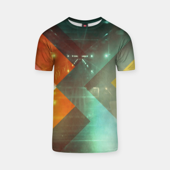 Thumbnail image of 70s Orange Abstract Techno Triangles T-shirt, Live Heroes
