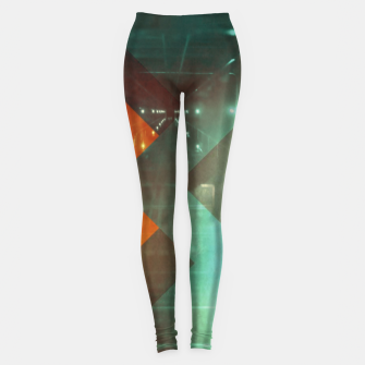 Thumbnail image of 70s Orange Abstract Techno Triangles Leggings, Live Heroes