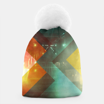 Thumbnail image of 70s Orange Abstract Techno Triangles Beanie, Live Heroes