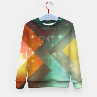 Thumbnail image of 70s Orange Abstract Techno Triangles Kid's sweater, Live Heroes