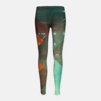 Thumbnail image of 70s Orange Abstract Techno Triangles Girl's leggings, Live Heroes