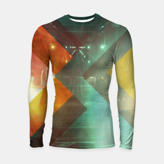 Thumbnail image of 70s Orange Abstract Techno Triangles Longsleeve rashguard , Live Heroes