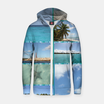 Thumbnail image of Great Tropical Paradise Caribbean Photo Collage Zip up hoodie, Live Heroes