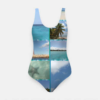 Thumbnail image of Great Tropical Paradise Caribbean Photo Collage Swimsuit, Live Heroes
