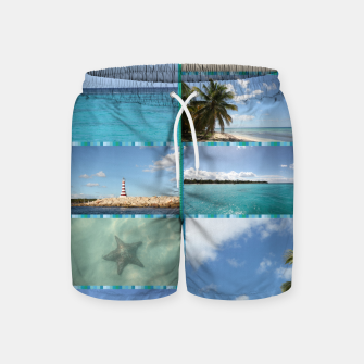 Thumbnail image of Great Tropical Paradise Caribbean Photo Collage Swim Shorts, Live Heroes