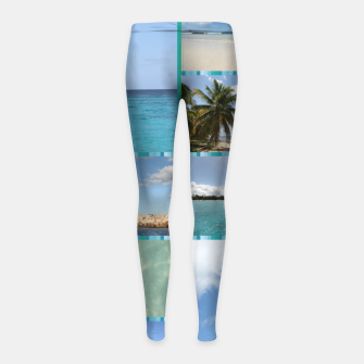 Miniaturka Great Tropical Paradise Caribbean Photo Collage Girl's leggings, Live Heroes