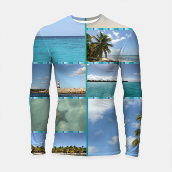 Thumbnail image of Great Tropical Paradise Caribbean Photo Collage Longsleeve rashguard , Live Heroes
