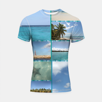 Thumbnail image of Great Tropical Paradise Caribbean Photo Collage Shortsleeve rashguard, Live Heroes