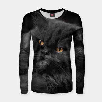Miniatur Angry Black Cat Women sweater, Live Heroes