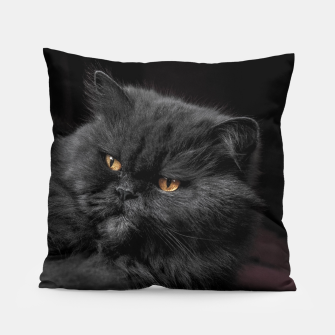 Thumbnail image of Angry Black Cat Pillow, Live Heroes