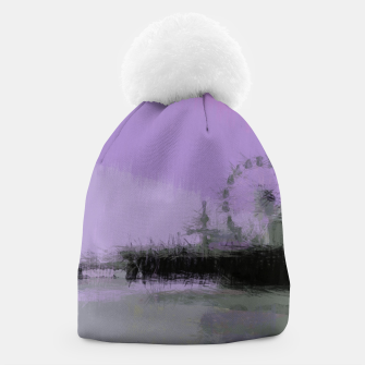 Miniatur Abstract Purple and Grey Shades Santa Monica Pier Beanie, Live Heroes