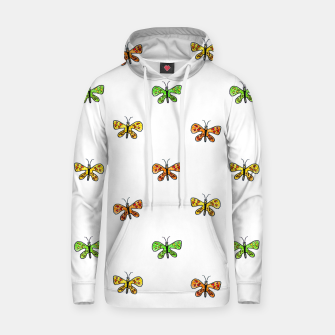 Miniatur Butterfly Cartoon Drawing Motif  Pattern Hoodie, Live Heroes
