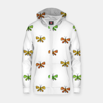 Thumbnail image of Butterfly Cartoon Drawing Motif  Pattern Zip up hoodie, Live Heroes