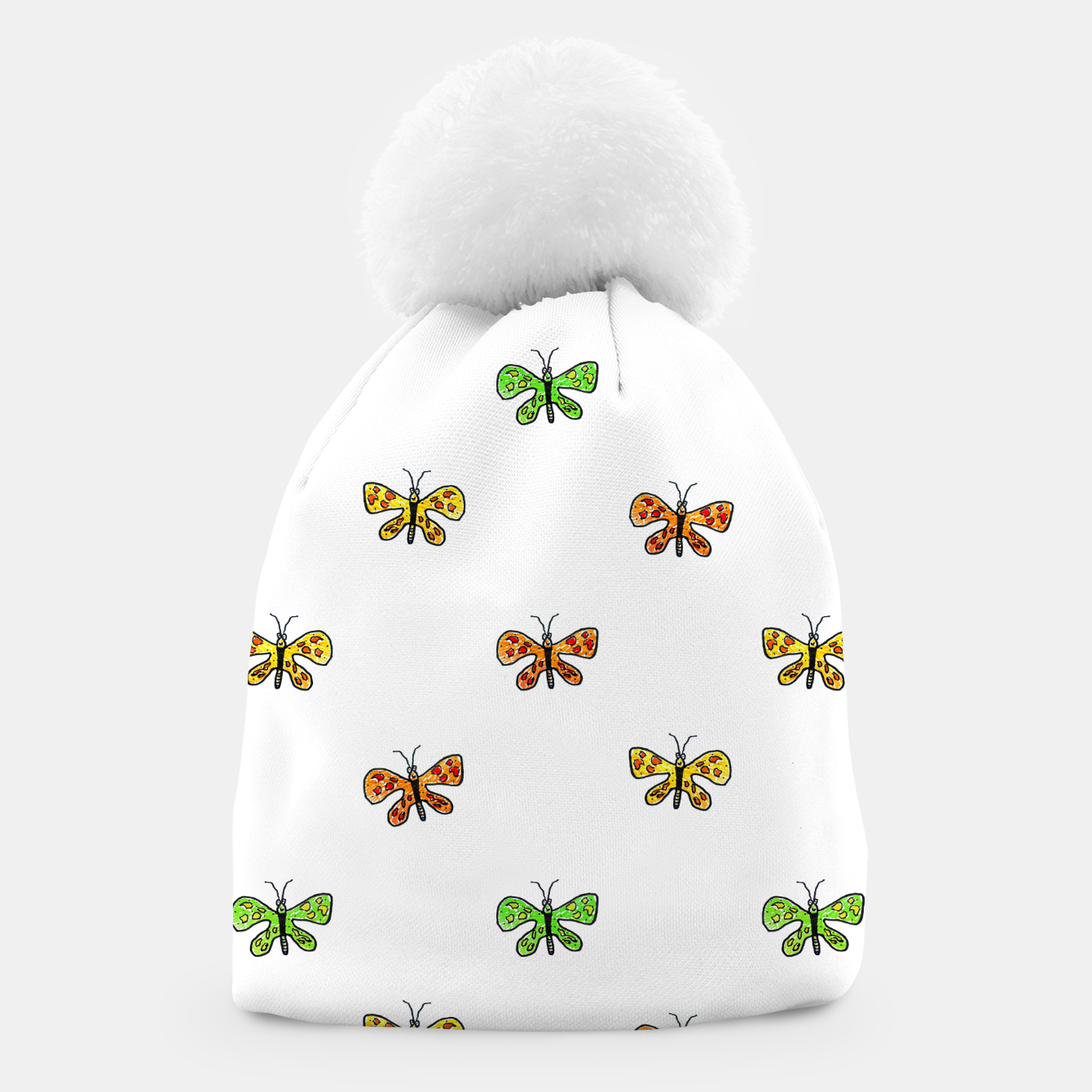 Image of Butterfly Cartoon Drawing Motif  Pattern Beanie - Live Heroes