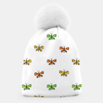 Miniatur Butterfly Cartoon Drawing Motif  Pattern Beanie, Live Heroes