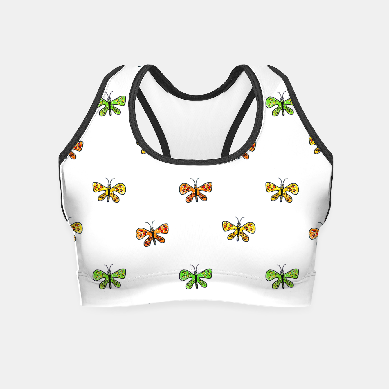 Image of Butterfly Cartoon Drawing Motif  Pattern Crop Top - Live Heroes