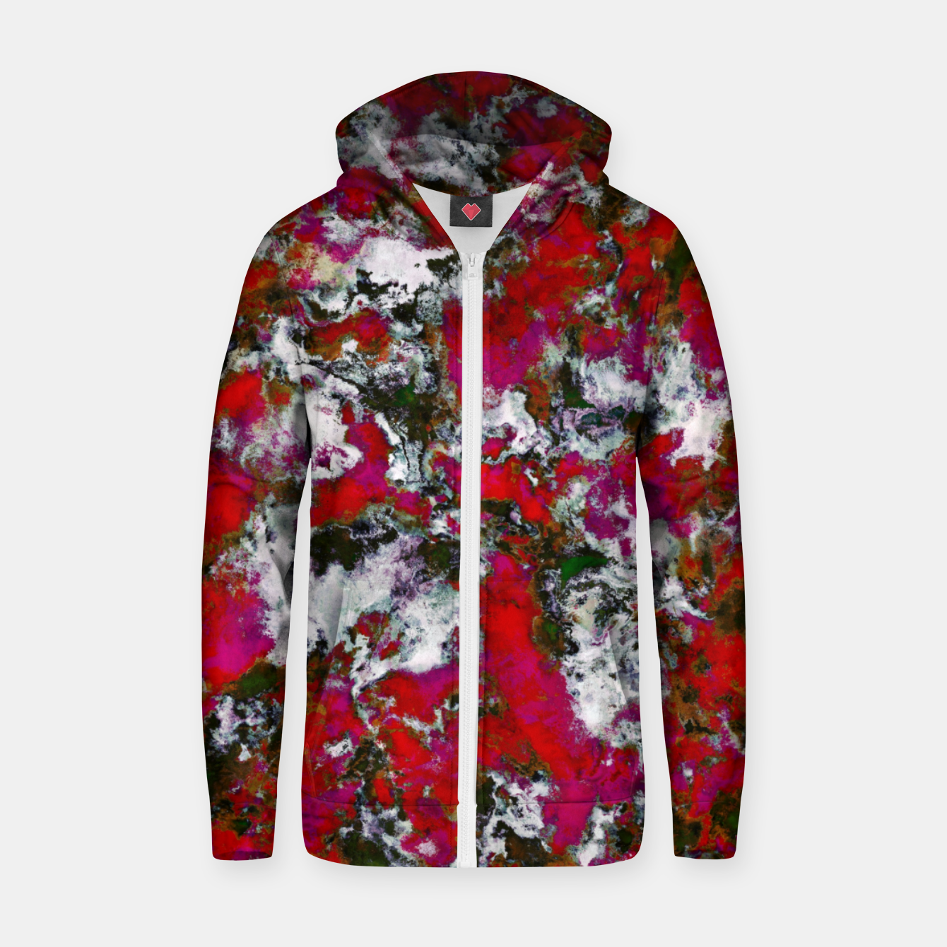 Image of Snow and red Zip up hoodie - Live Heroes