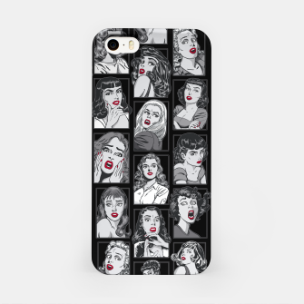 Thumbnail image of Vintage Pulp Comic Pop Culture Pin Up Girl Art Pattern Black iPhone Case, Live Heroes