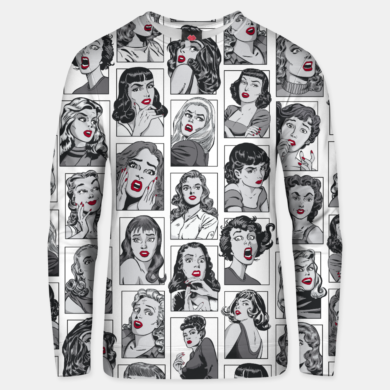 Image of Vintage Pulp Comic Pop Culture Pin Up Girl Art Pattern White Unisex sweater - Live Heroes