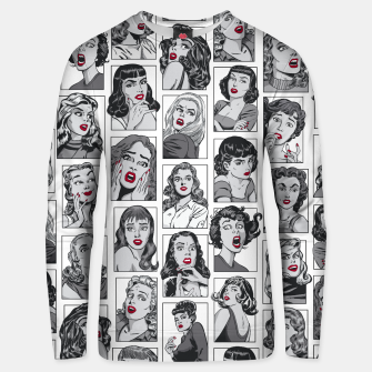 Thumbnail image of Vintage Pulp Comic Pop Culture Pin Up Girl Art Pattern White Unisex sweater, Live Heroes